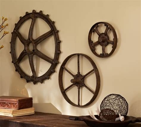 pottery barn decorations rustic gears set pottery barn