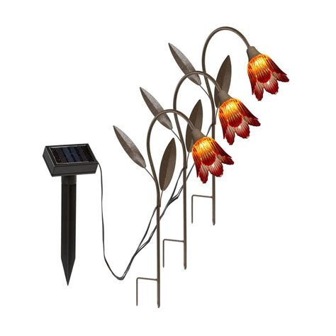 tulip solar lights hold all outdoor led solar tulip stakes path light 3 pack