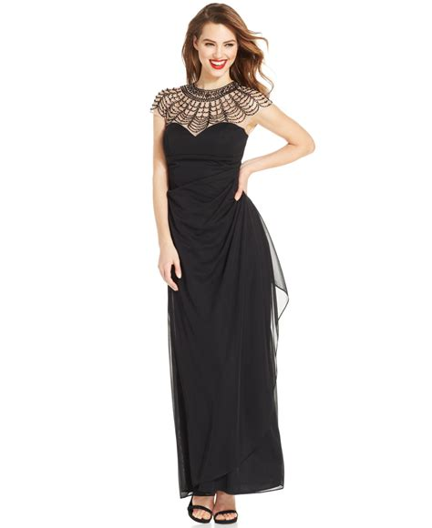 xscape beaded illusion gown lyst xscape beaded illusion yoke draped gown in black