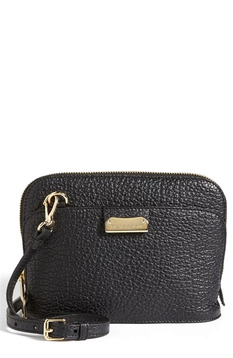 burberry small harrogate leather crossbody bag in black