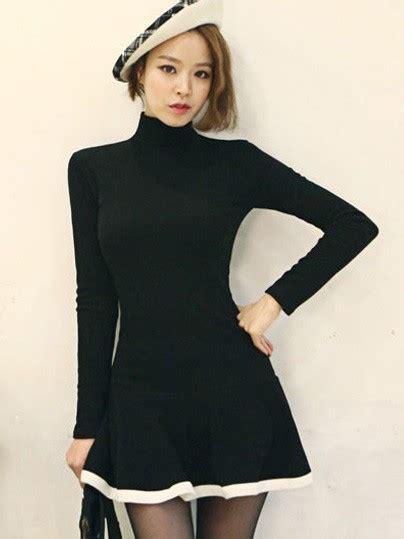 Korea Dress Shania Black Size L ulzzang korean fashion clothes store sleeved high collar black knit mini dress wsdear