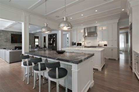 White Marble Kitchen Island White Kitchen Island With Black Marble Countertop Transitional Kitchen Blue Water Home