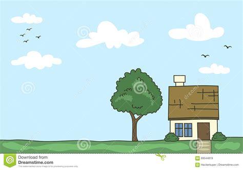 Mit Freundlichen Grã ã En Zeile Vector Gekritzelkarikaturhaus Mit Baum Und Klaren Himmel In Der Pastellfarbe Vektor Abbildung