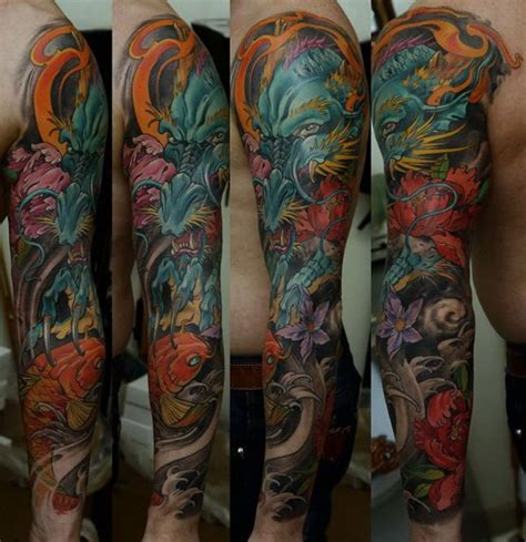 colorful tattoo sleeve designs 28 colored sleeve tattoos