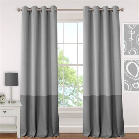 Window Panel Curtains Gray Juvenile Or Tween Blackout Room Darkening Grommet Window Curtain Panel 52 In W X 84