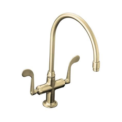 kohler brushed nickel kitchen faucet kohler essex 2 handle standard kitchen faucet in vibrant brushed nickel k 8762 bn the home depot