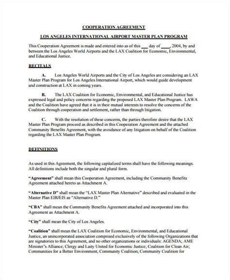 Business Cooperation Agreement Template 10 cooperation agreement templates word pdf format