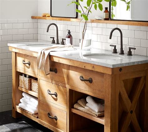 pottery barn sink console benchwright reclaimed wood double sink console wax pine