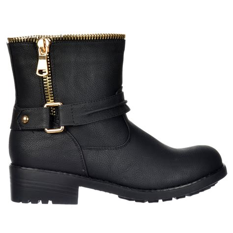 shoekandi biker ankle boot bzip feature gold zip and