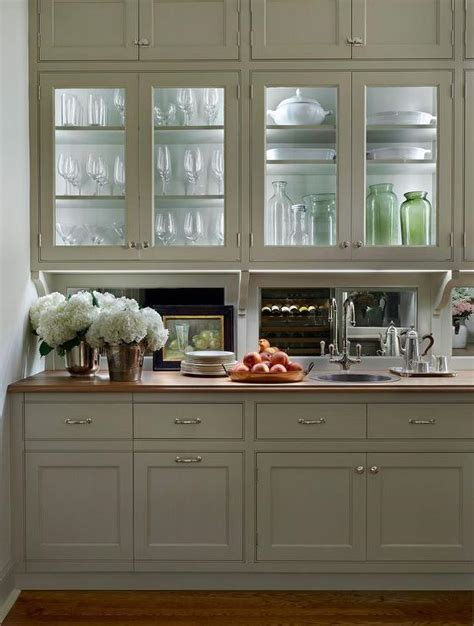 glass shelves kitchen cabinets traditional butler s pantry features glass front upper