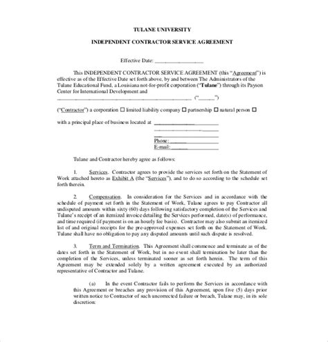 contract services template 20 service agreement template free sle exle