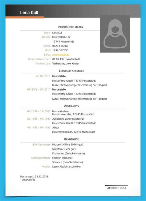 Tabellarischer Lebenslauf Vorlage Wordpad Kostenlose Lebenslauf Muster Und Vorlagen Zum