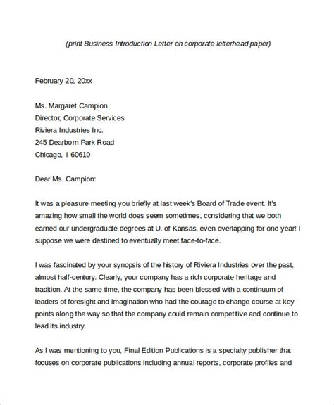 Firm Introduction Letter Business Introduction Letter Sle Pdf Cover Letter Templates