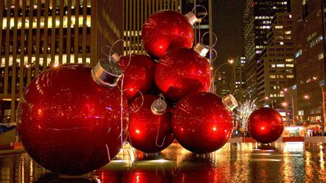 giant christmas ornaments decoration in nyc destination wish list a big apple
