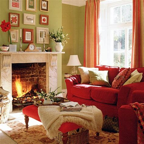 rooms with red couches green living room with red sofa stool and curtains