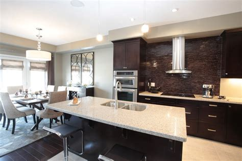 model home kitchen and dining room combination modern