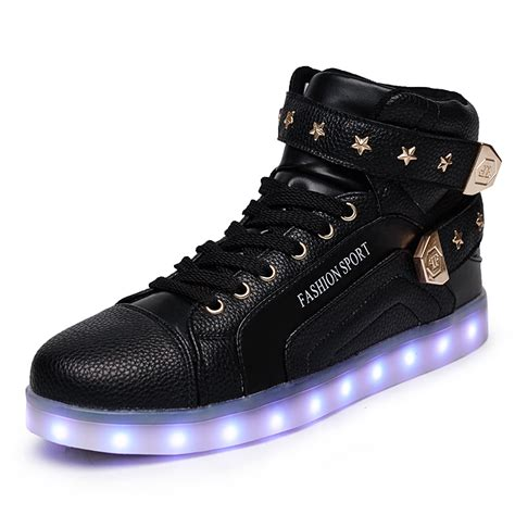 Hello Led Black Shoes Medium Size winter high top black led lights shoes for adults glowing light up shoe footwear zapatillas