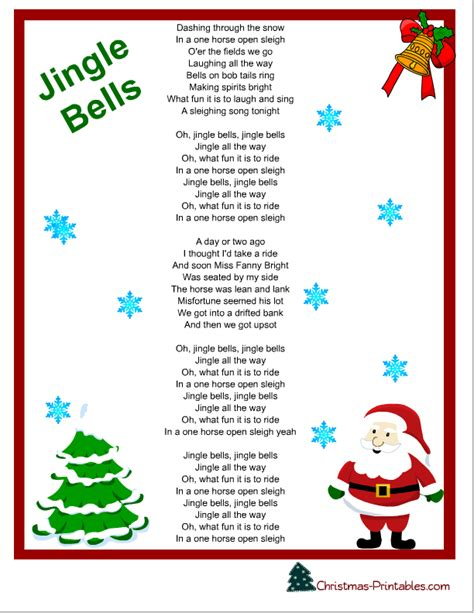 printable christmas carols christmas songs lyrics yahoo image search results