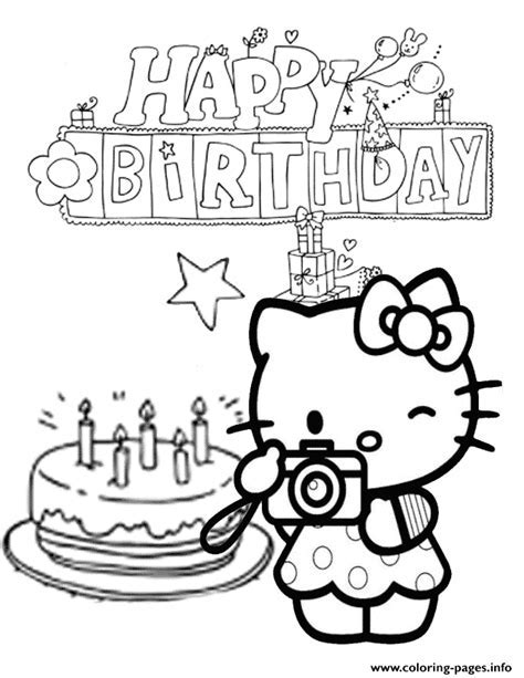 Hello Kitty Cake And Star Birthday Coloring Pages Printable