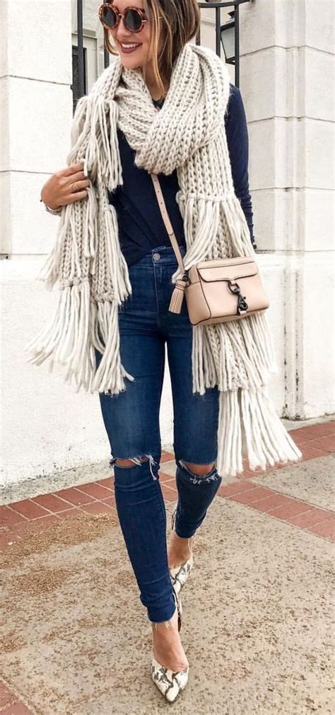 how to wear knit wraps picture of fall look with ripped