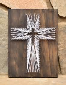string decorations easter cross string wood decor religious decor