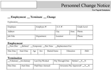 notice of personnel template business forms raleigh nc accounting services payroll