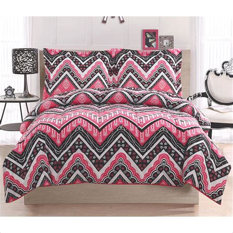 kylee chevron comforter set with zig zag pattern