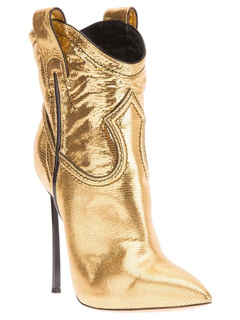 gold cowboy boots casadei stiletto heel cowboy boot in gold metallic lyst