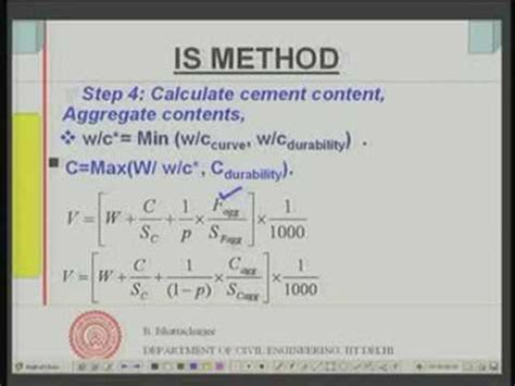 design mix is module 9 lecture 2 mix design of concrete is method youtube