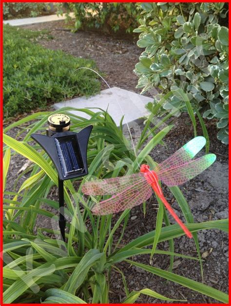 Solar Powered Garden Decor Solar Powered Garden Decor Flickering Dragonfly Stake Ebay