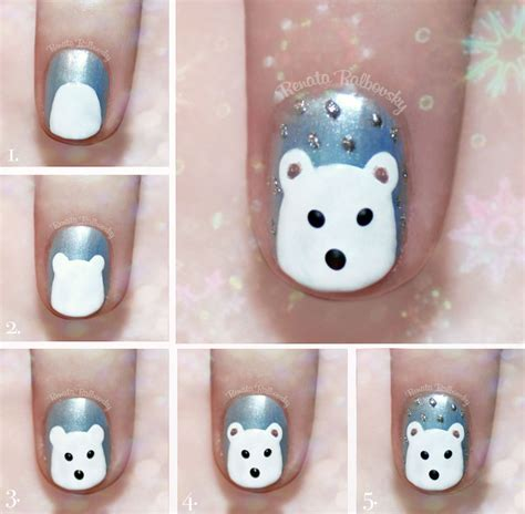 tutorial nail art kawaii cute polar bear nail art tutorial by psychoren on deviantart