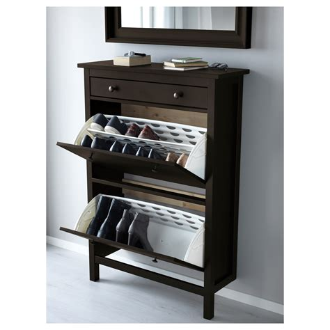hemnes shoe storage hemnes shoe cabinet with 2 compartments black brown 89x127