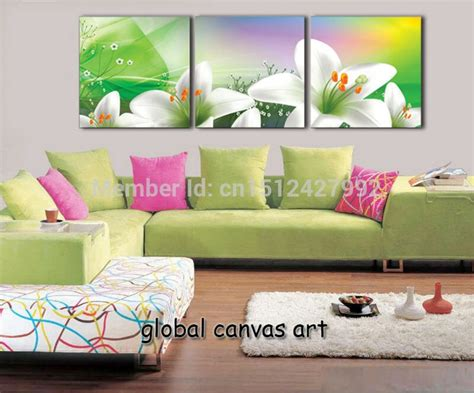 3 panel modern home decoration wall picture white flower colorful sky canvas print