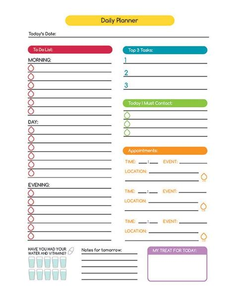 printable time planner time management daily planner digital printable
