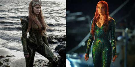 actress in aquaman 2018 amber heard s mera costumes in justice league and aquaman