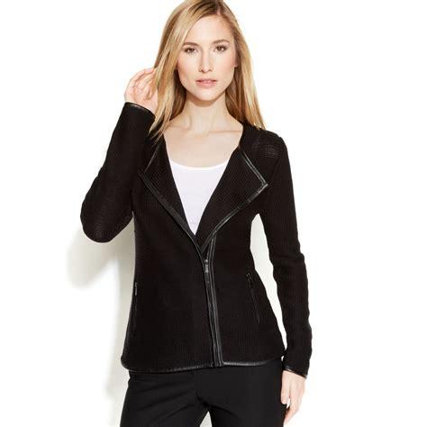 calvin klein knit sweater calvin klein zipfront knit sweater jacket in black lyst