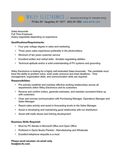 cover letter description resume retail sales associate duties