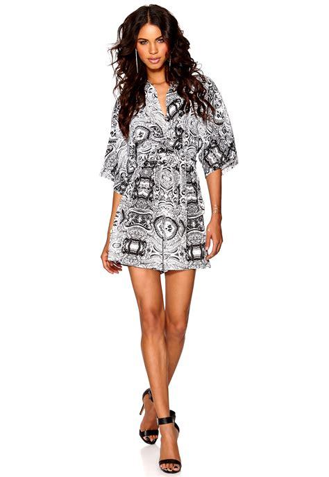 kimono playsuit pattern make way manon playsuit black white pattern bubbleroom