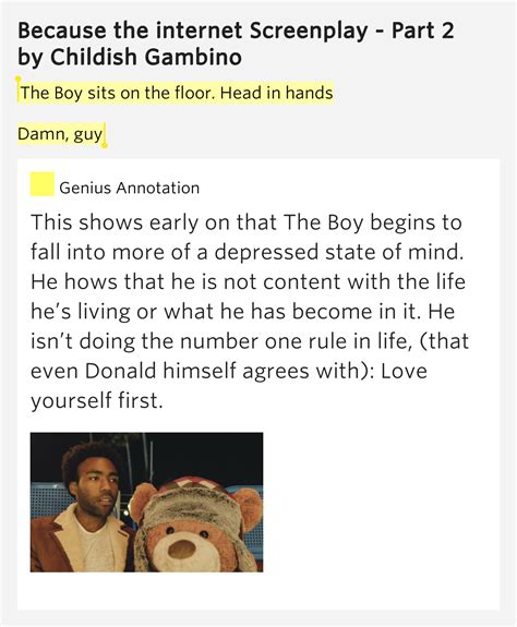 because the screenplay the boy sits on the floor in childish