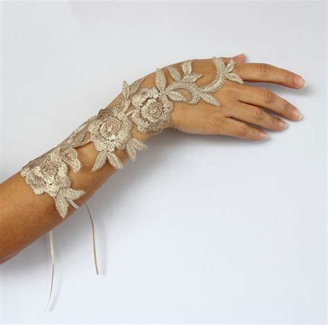Handmade Wrist Corsage - wrist corsage of beige applique lace handmade mothers