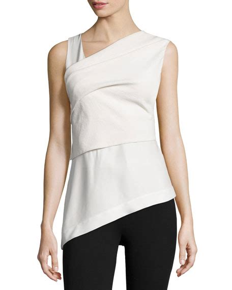 Porcelaine Dress Shoulder Bhn Crepe L donna karan sleeveless wrap top w bow back bone porcelain