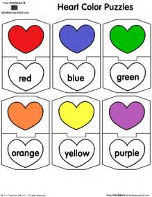 colors worksheet colors and color word match with hearts a to z