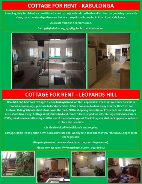 cottage to let 09 01 2016 cottages for rent in kabulonga and leopards