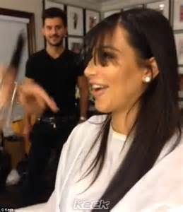 haircut before or after pregnancy kim kardashian gets bangs like kourtney and this time