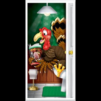 Thanksgiving Door Cover by Pooping Turkey Bathroom Door Cover Thanksgiving