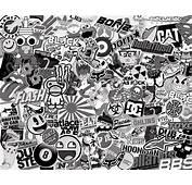 Stickerbomb Black And White  MuralDecalcom