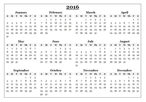 2016 Calendar Year 2016 Yearly Calendar Template 08 Free Printable Templates