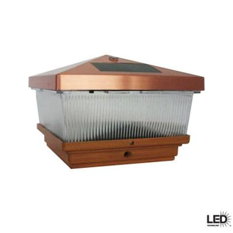 Hton Bay Outdoor Antique Copper Led Solar Post Cap Home Depot Solar Post Lights