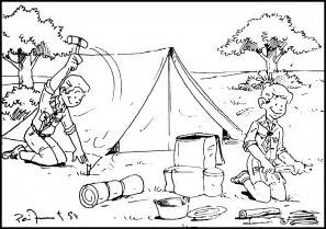 Camping Coloring Page Displaying 15 Images For sketch template
