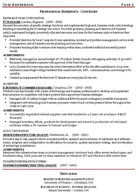 risk management resume exle sle management resumes